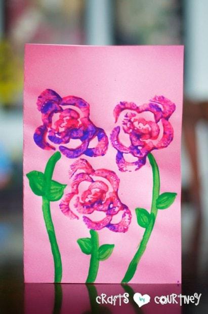 Fruit Stamping Craft: Celery Flower Stamping: Card Craft