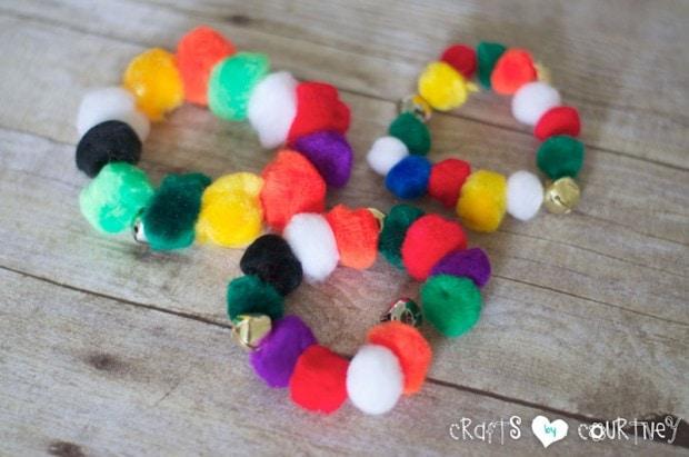 Pom Pom Jingle Bracelets: Finishing Touches