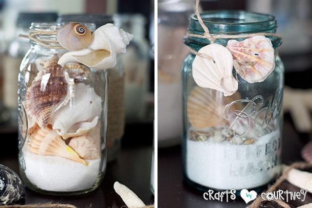 Summer Beach Decor Inspiration: China Cabinet: Wrapping Shells Around a Mason Jars for Beach Theme