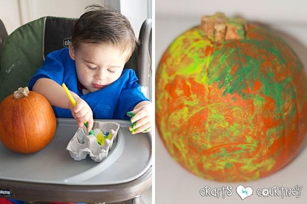 Halloween Pumpkin Decorating Party: Pumpkin Decorating Station: Getting started on his pumpkin decorating