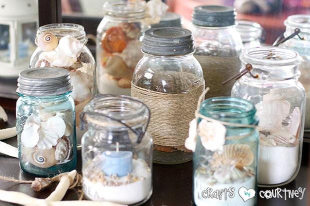 Summer Beach Decor Inspiration: China Cabinet: Sand and Shell Filled Mason Jars