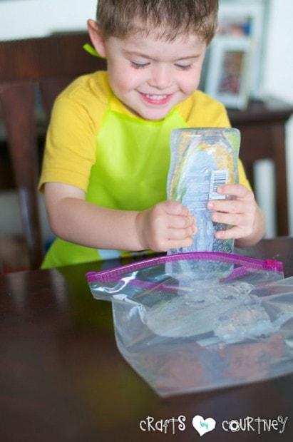 Glitter and Gel Sensory Bag: Add Hair Gel