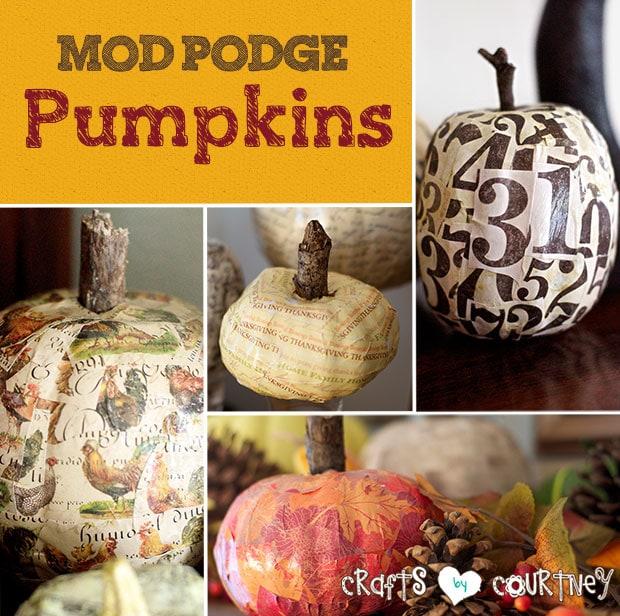 DIY Mod Podge pumpkin decor
