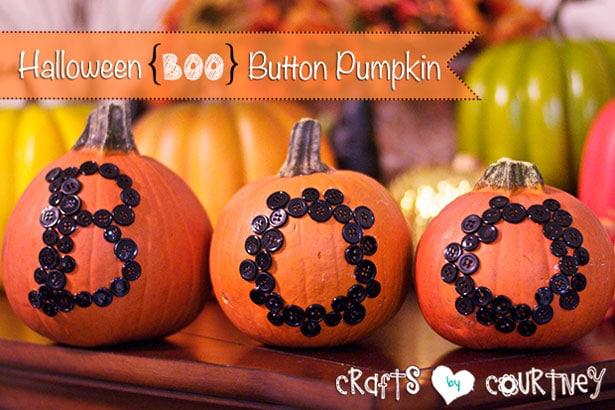 BOO button Halloween pumpkins