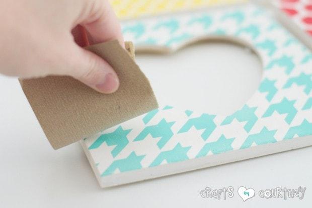 Stenciled Valentine Heart Frames: Sanding your frames