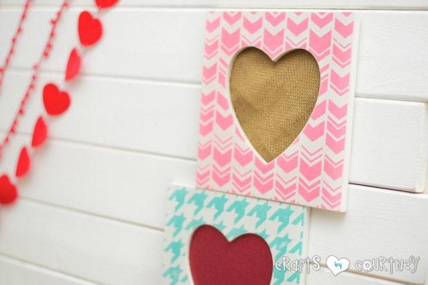 Stenciled Valentine Heart Frames:Valentine Crafts
