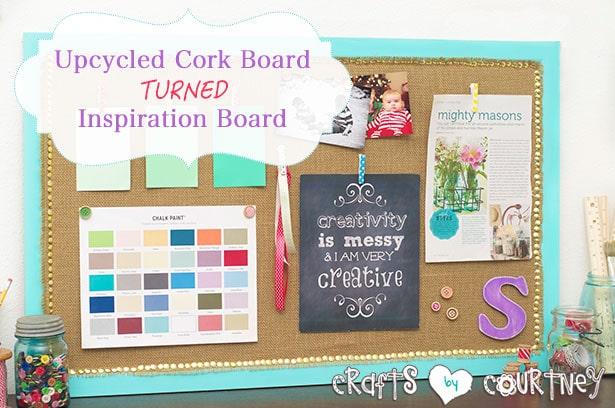 Upcycled corkboard turned inspiration board