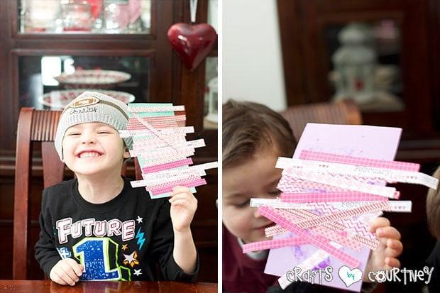 Scrapbook Paper Valentine Heart Card for Kids: Scrapbook paper added