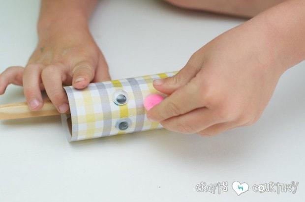 Toilet Paper Roll Easter Rabbits: Glue on Pom Pom Nose