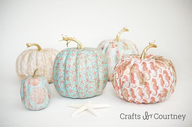 Mod Podge Fall Coastal Theme Pumpkins