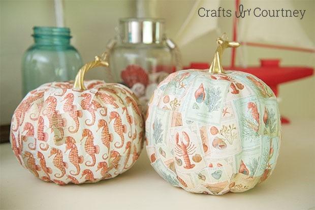 Fall Coastal Decor With Mod Podge Pumpkins - Crafts by Courtney