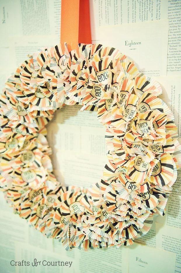 Cupcake Liner Wreath for Halloween