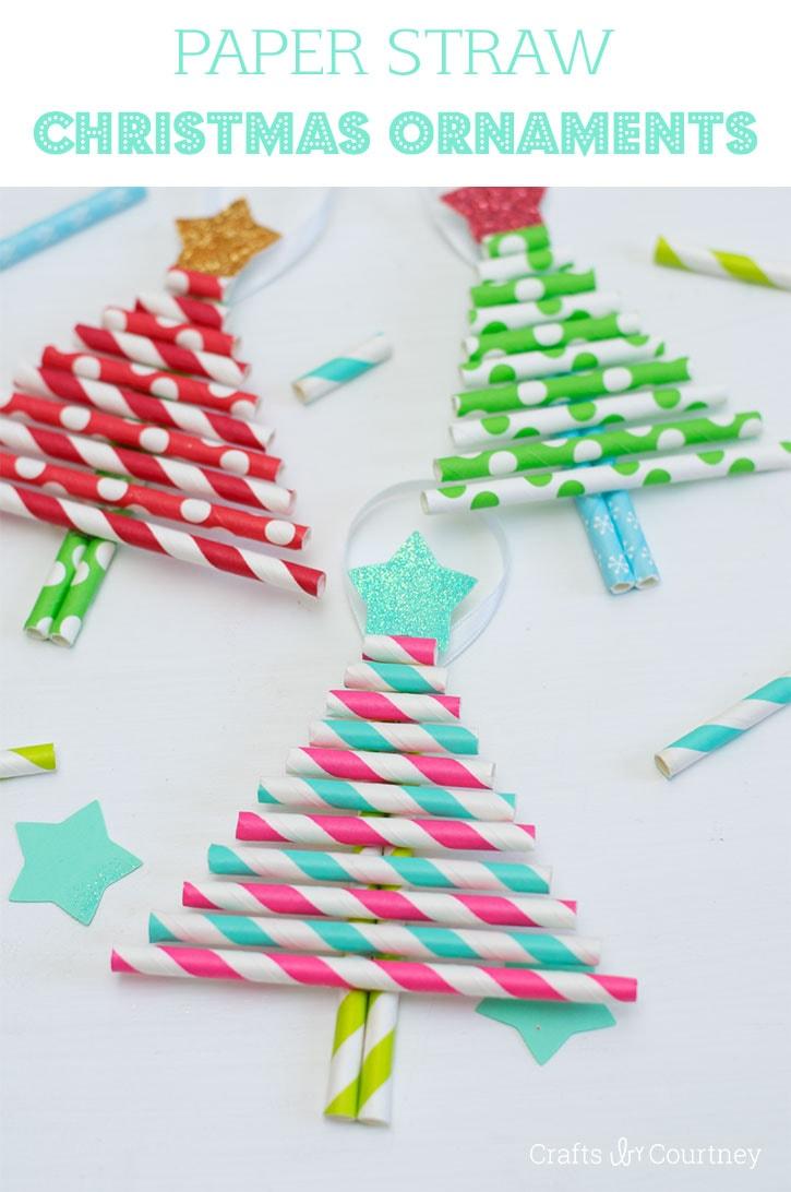 Kids DIY Ornaments: Pretty Paper Straw Christmas Trees