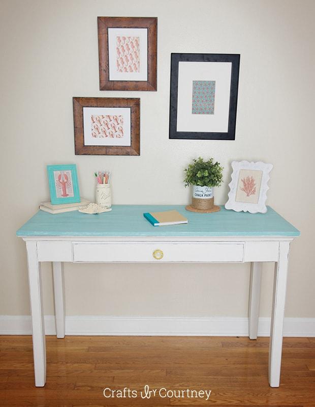 Coastal desk makeover