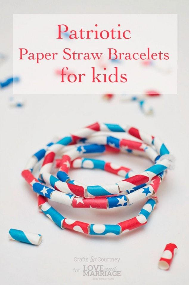 July 4th Craft: Patriotic Paper Straw Bracelets