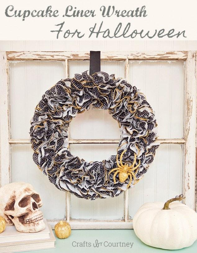 Halloween Craft: Spooky Halloween Cupcake Liner Wreath