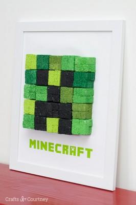 DIY Kids Wall Art - Minecraft Creeper