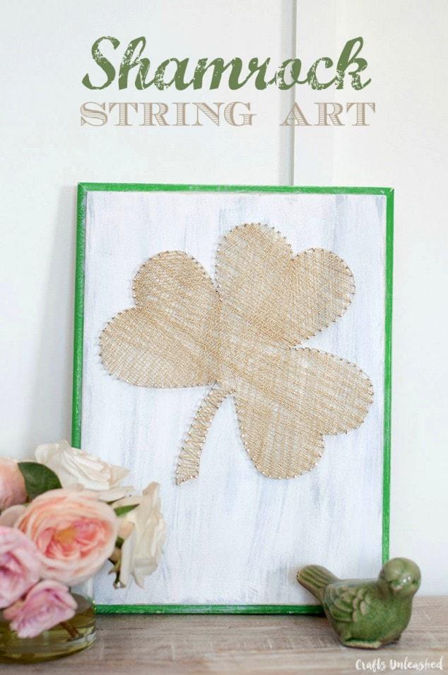 Easy DIY Shamrock String Art Decor