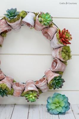DIY Succulent Wreath with Terracotta Pots