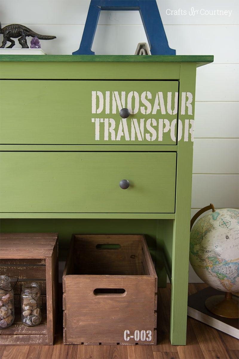 DIY Dinosaur Dresser Makeover