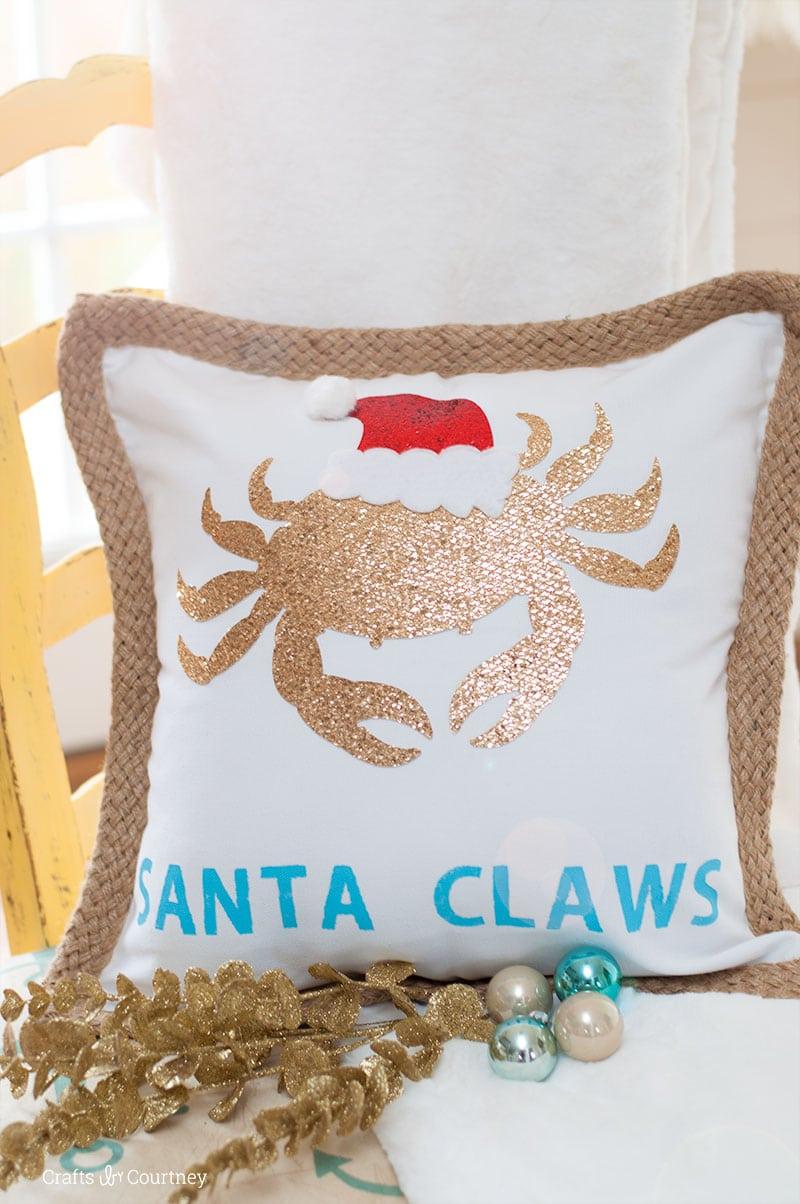 Create an easy Coastal DIY Pillow for Christmas for Cricut Maker!