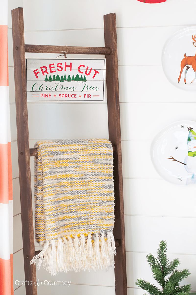 Easy Farmhouse DIY Blanket Ladder for Winter