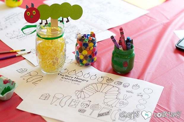 The Very Hungry Caterpillar Birthday Party: Craft Table