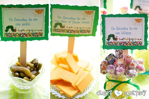 The Very Hungry Caterpillar Birthday Party: Caterpillar Food: Pickles, Cheese and Lillipops