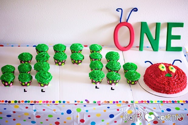 The Very Hungry Caterpillar Birthday Party: Caterpillar Cupcake Station: Caterpillar Cupcakes