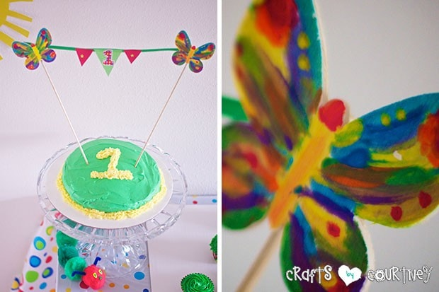 The Very Hungry Caterpillar Birthday Party: Caterpillar Cupcake Station: Smash Cake and Butterfly Birthday Banner