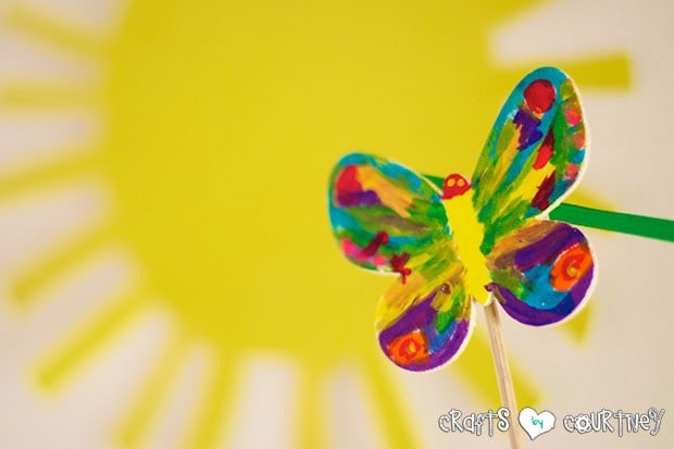 The Very Hungry Caterpillar Birthday Party: Caterpillar Cupcake Station: Painted Wooden Butterfly