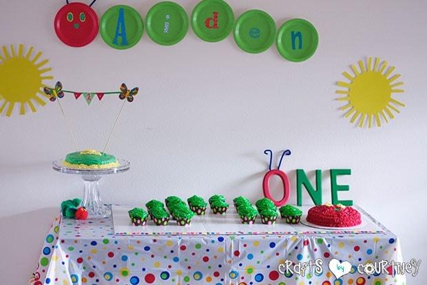 The Very Hungry Caterpillar Birthday Party: Caterpillar Cupcake Station