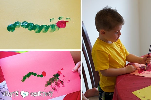 The Very Hungry Caterpillar Birthday Party: Craft Table: Caterpillar Craft