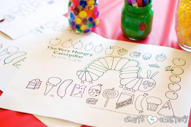 The Very Hungry Caterpillar Birthday Party: Craft Table:The Very Hungry Caterpillar Coloring Sheets