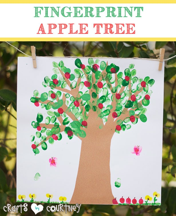 Kids art: Fingerprint apple tree art