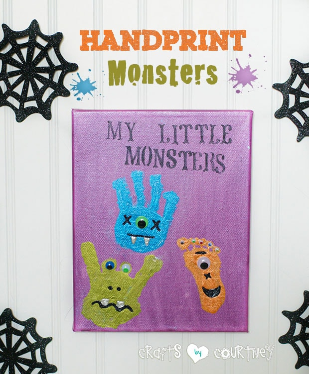 Handprint monster art for kids