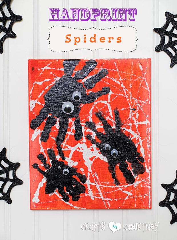 Handprint spiders kids Halloween craft
