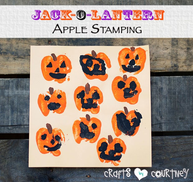 Jack-o-lantern apple stamping craft for kids