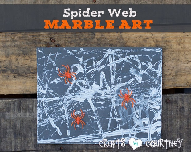 Kids craft: Marble spider web art