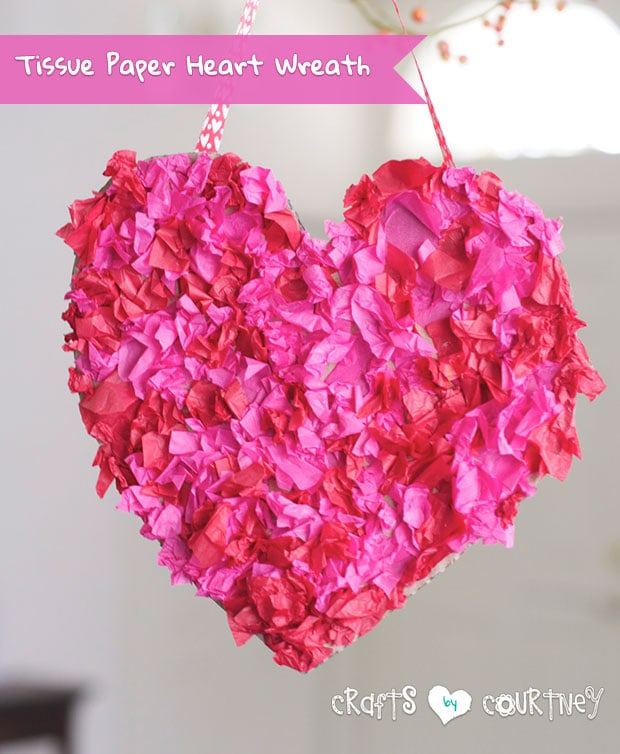 Make A Tissue Paper Heart Wreath With Your Kids