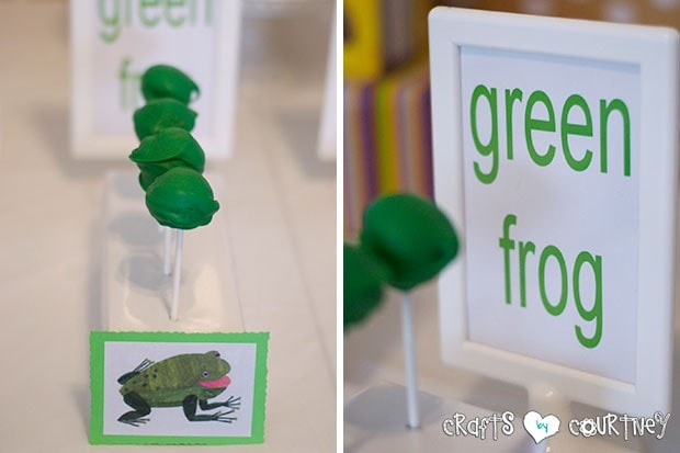 Brown Bear Birthday Party: Green Frog Cakepops
