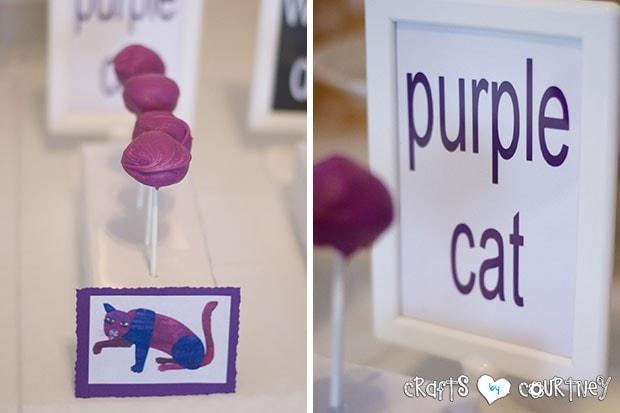 Brown Bear Birthday Party: Purple Cat Cakepops