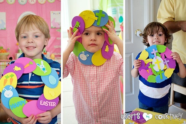 Easter Party: Craft Table: The kids finished wreaths