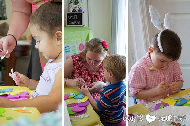 Easter Party: Craft Table: The kids working on their crafts