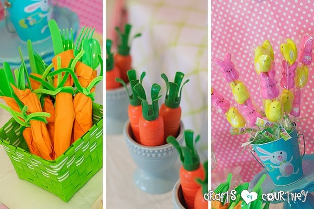 Easter Party: Display Table: Carrot Silverware, Peeps Easter Kabobs