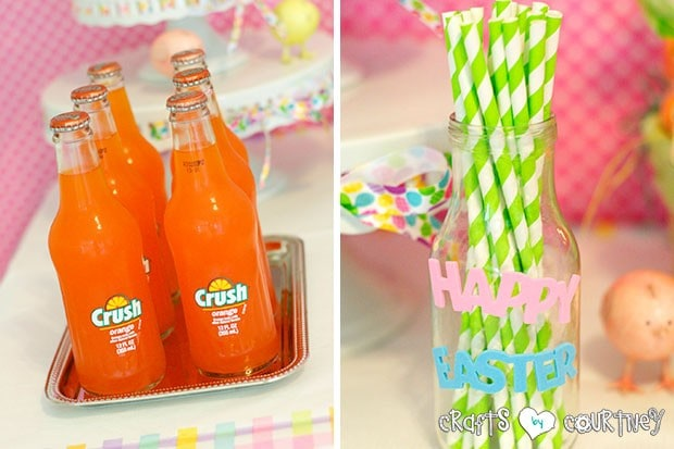 Easter Party: Display Table: Orange Crush Pop and Paper Straws