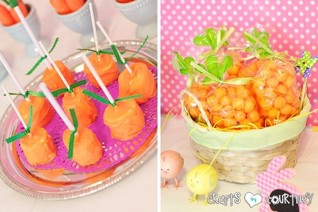 Easter Party: Display Table: Marsh Mellow Carrots and Cheese Puff Carrots