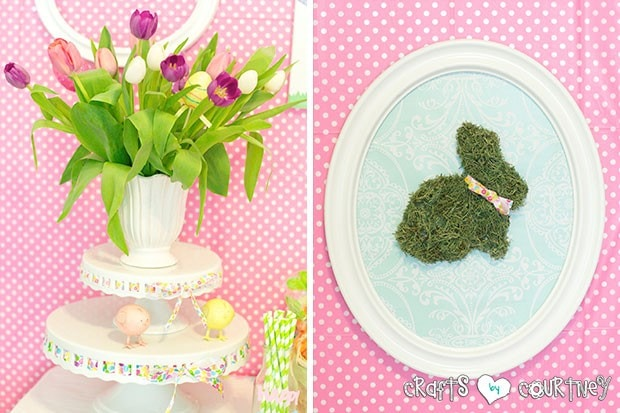 Easter Party: Display Table: Tulip Flower Arrangement and Easter Moss Bunny