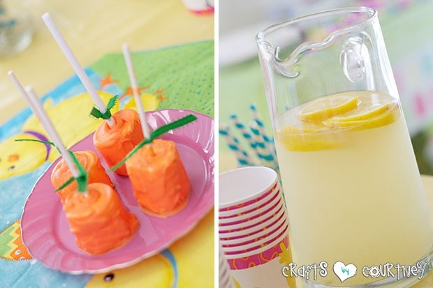 Easter Party: Sweet Treats Table: Marsh Mellow Carrots and Lemonade