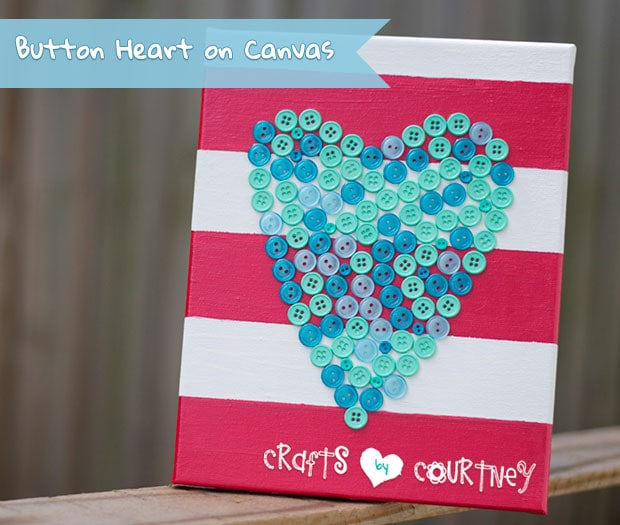 """Create a """"Lovely"""" Button Heart on Canvas Decoration"""